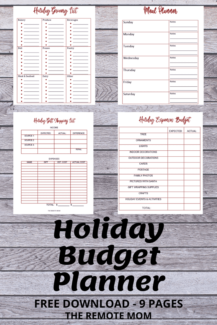 Free Holiday Budget Planner 9 Pages